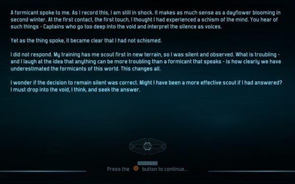 A large part of the game's story is delivered through these text blocks between missions.